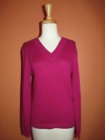 Lands' End Womens Size Xs Berry Pink Cotton Cashmere Sequin V Neck Sweater