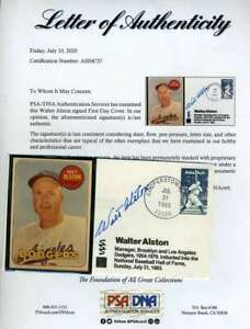 Walt-Alston-PSA-DNA-Coa-Autograph-Hand-Signed-FDC-Cache-With-1969-Topps-Card