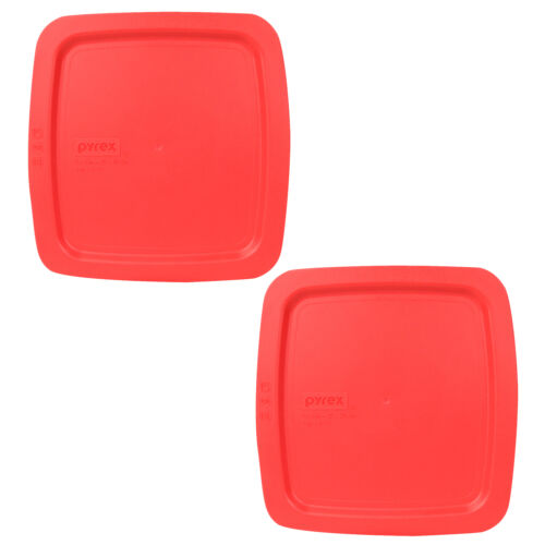 """Pyrex C-222-PC 8/"""" Square Red Easy Grab Storage 2Qt Lid 2PK for Glass Baking Dish"""