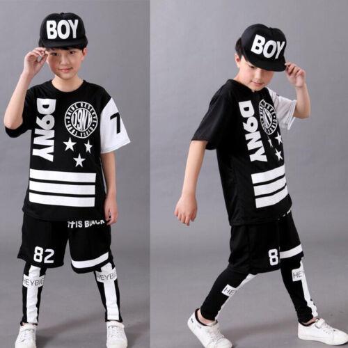 Boys Modern Jazz Dancewear tops+Pant Kids Hip Hop Party Ballroom Dance Costumes