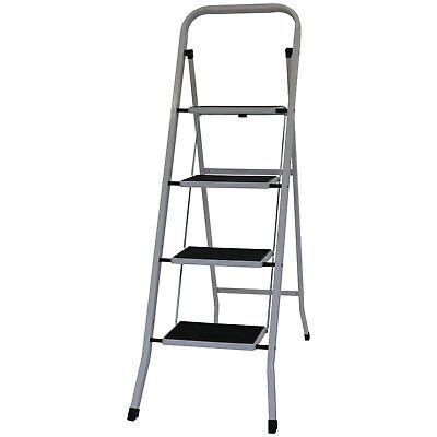 NEW! Foldable 4 Step Ladder Stepladder Non Slip Tread Safety Steel Step