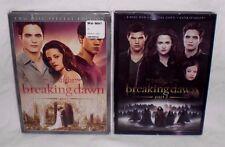 Twilight Saga BREAKING DAWN - PART 1 & 2 Movie Collection 4-Disc 2-DVD Set Lot