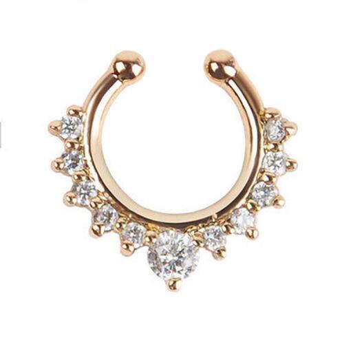 2Pcs Fashion Fake Septum Clicker Nose Ring Non Piercing Hanger Clip Jewelry D HK