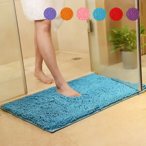 Shaggy-Microfiber-Soft-Bathroom-Rug-Shower-Bath-Mats-Non-Slip-8-Colours