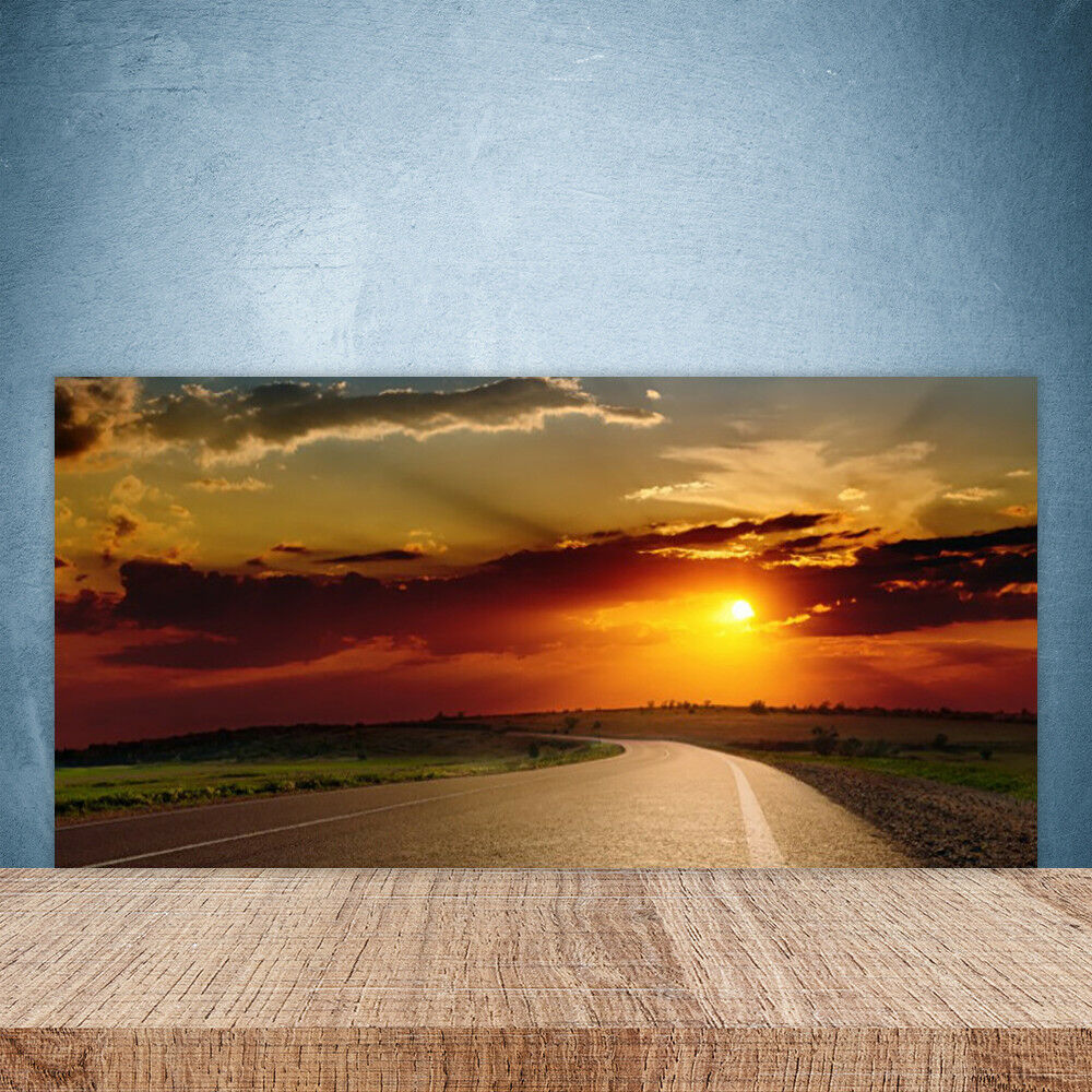 Cupboard kitchen glass wall panel 100x50 landscape sunset rue