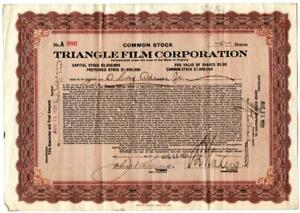 1920-Triangle-Film-Corporation-Stock-Certificate-Early-Hollywood-Silent-Films