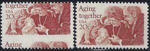 """2011 - 20c Huge Misperf Error / EFO 20c """"Aging Together"""" Mint NH"""