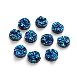 300 Flat Back Resin Cabochons Druzy Finish Bumpy Round Cover Tiles Blue 12x5mm