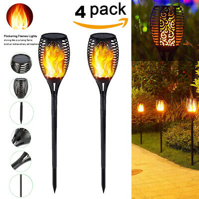 Waterproof Solar Powered 96LED Torch Light Dancing Flickering Flame Lamp 4 PACK