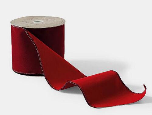 """Designer Donna Stevens 4/"""" x 10 Yards Double-Sided Burgundy Velvet Ribbon-Wired"""