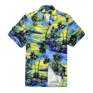 Men-Tropical-Hawaiian-Aloha-Shirt-Cruise-Luau-Beach-Party-Palm-Blue-Science-GRN