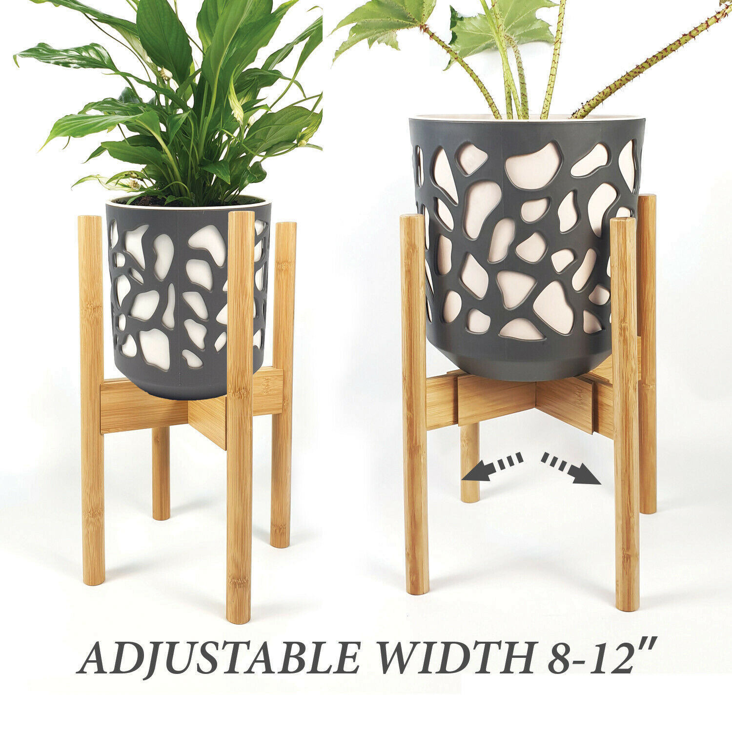 8 to 12 inches Black JENHOME Adjustable Plant Stand Mid Century Plant Stands for Indoor Plants Tall Metal Plant Stand Outdoor Pot /& Plant Not Included Fit 8 9 10 11 12 inch Pots