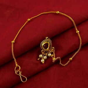 Indian-18K-Goldplated-Nose-Rings-Bridal-Nath-Traditional-Wedding-Jewellery-New