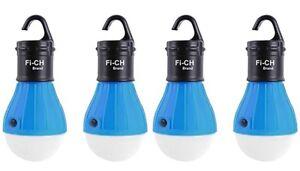 4 x Blau Aussen Hängelampe mit je 3 LED's Camping Zelt Glühbirne Angeln Laterne Sport