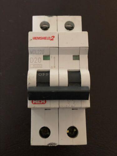 MemShield 2 MCB D20 Amp 2-Pole Eaton 20 Amp Mem Type D