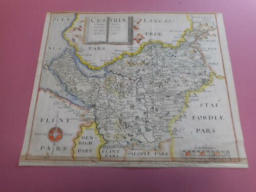 100% ORIGINAL CHESHIRE MAP BY SAXTONHOLE C1610 VGC HAND COLOURED