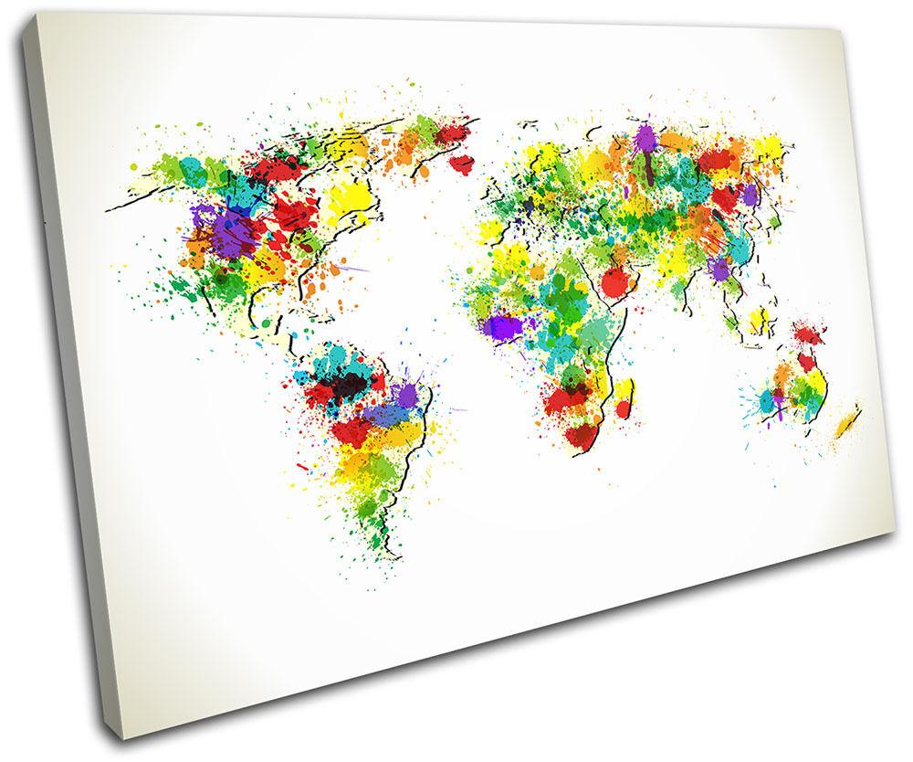 World Atlas Paint Splat Maps Flags SINGLE TOILE murale ART Photo Print