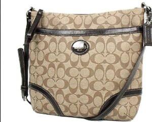 Coach-Peyton-File-Crossbody-Signature-Bag-F18926-Brown-Khaki-Canvas