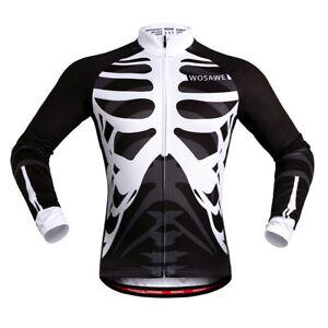 Mens-Cycling-Jersey-Breathable-MTB-Road-Bike-Skeleton-Tops-Sports-Shirt-Elastic