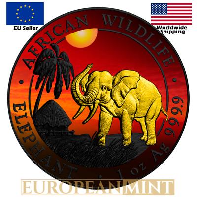 2016 1 oz Fine Silver Elephant Somalia African Sunset 24k Gold Gilded Box /& COA