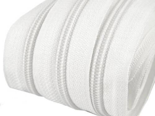 5m infinito-cremallera 5mm con 10 Zipper blanco sin gastos de envío