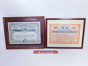 CQ659-3# 2x US-Eisenbahn-Aktie entwertet: Pennsylvania+Boston & Albany Railroad