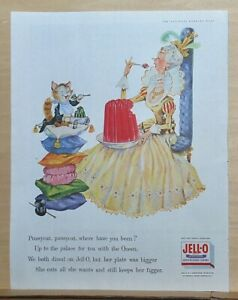 1958 magazine ad for Jell-O - Pussycat where have you been? Nursery Rhyme ad