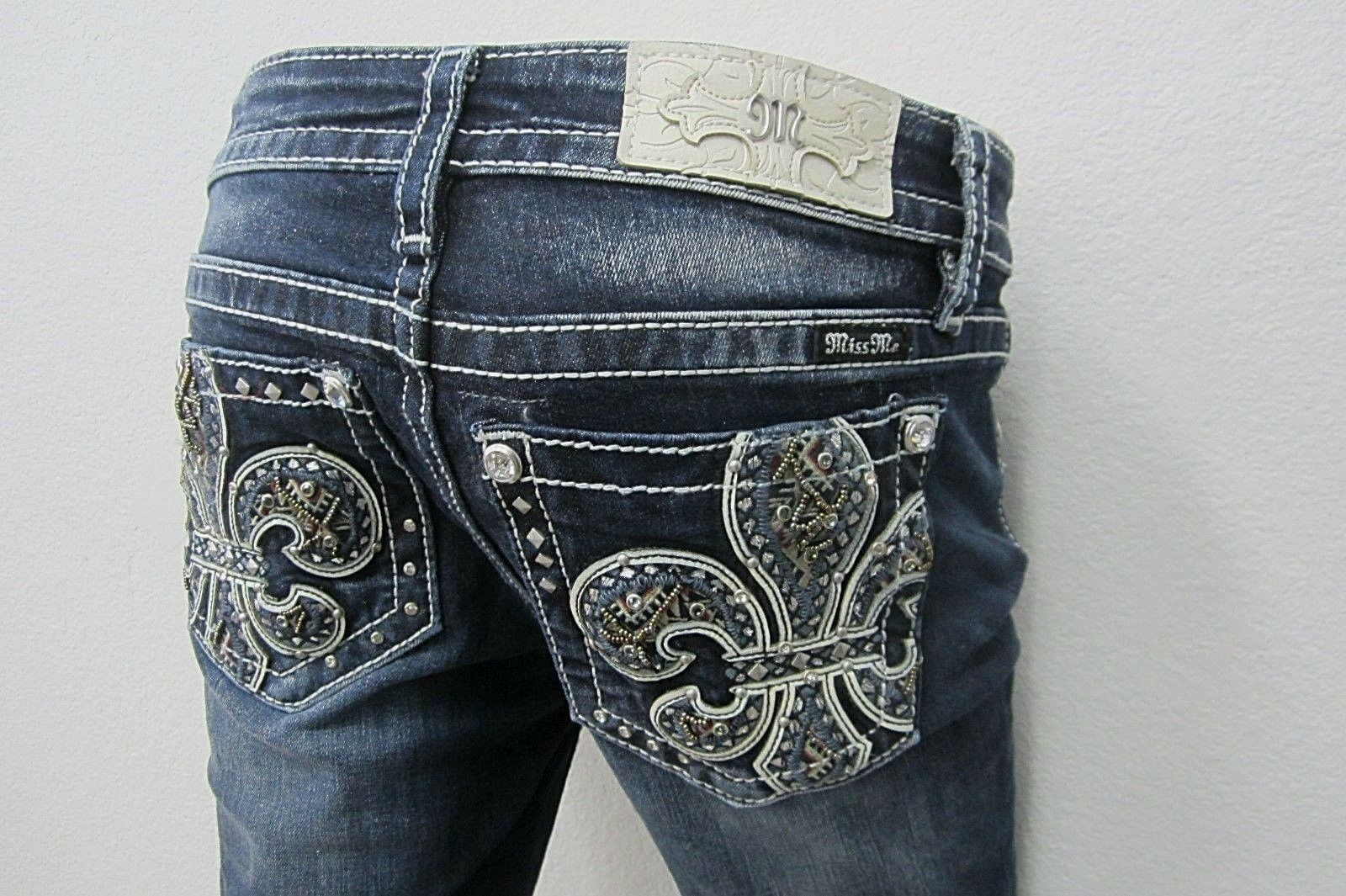 NWT Miss Me Women's Dark blue Fleur-de-lis Hailey Skinny Jeans M3206S Sz 26 x L30