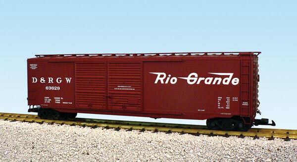USA Trains G Scale 50 Ft Double Door Box Car R19325B Rio Grande - Mineral Brown