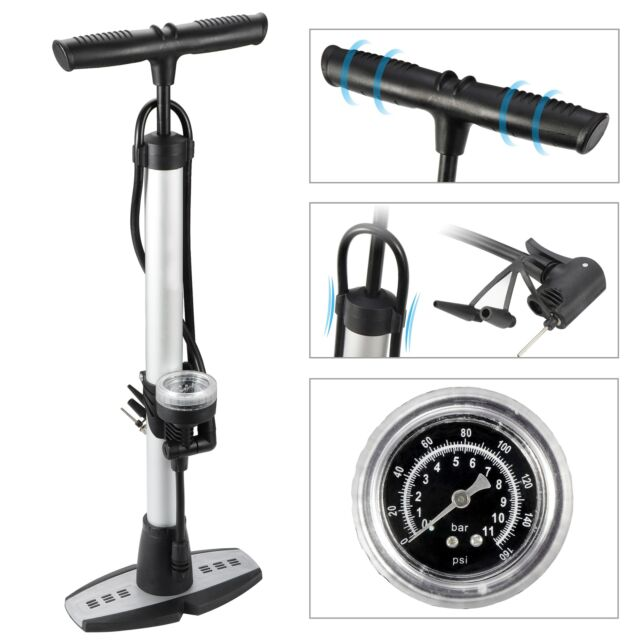 Portable Bicycle Pump Floor Pump with Gauge 160 PSI for Basketball Football