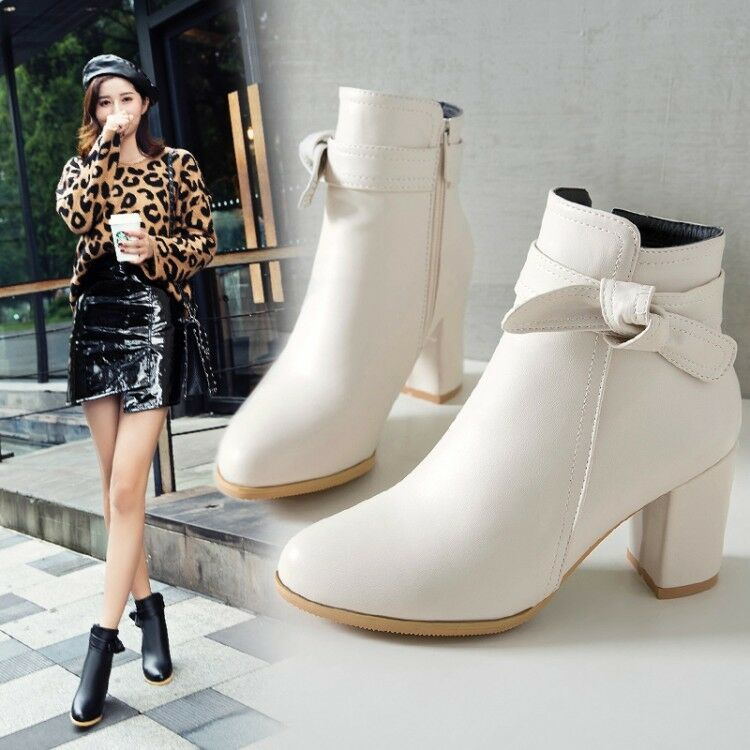 New Women Round Toe Bowknot Zipper Plus size Ankle Boots Girl Block Heels shoes