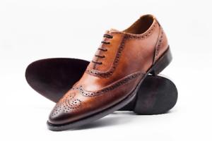 Zapatos para hombre hecho a mano de cuero tostado Formales Oxford Brogue punta del ala Bota Informal Con Cordones