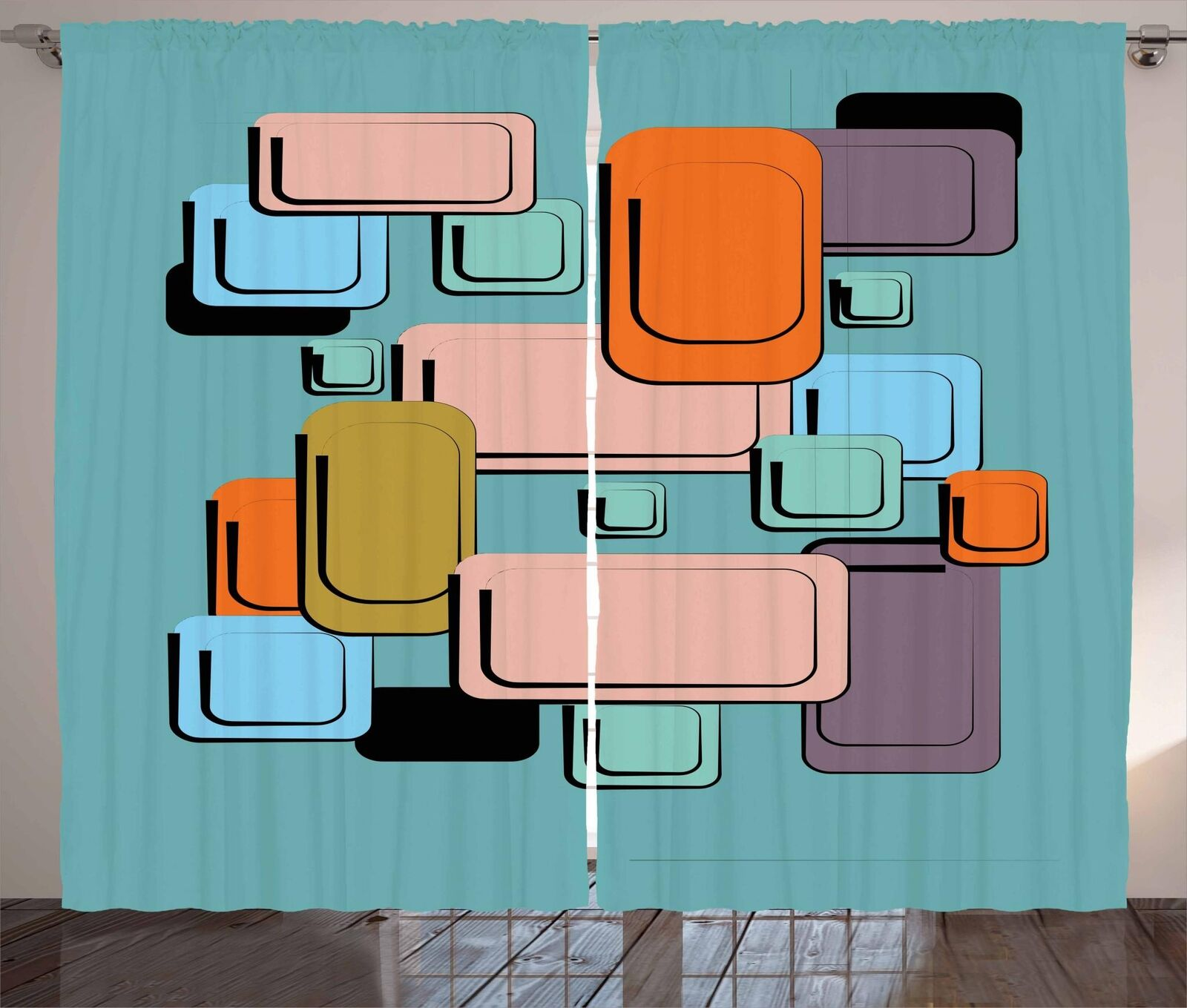 Coloreeeeful Cartoon Curtains 2 Panel Set for Decor 5 Dimensiones Available Window Drapes