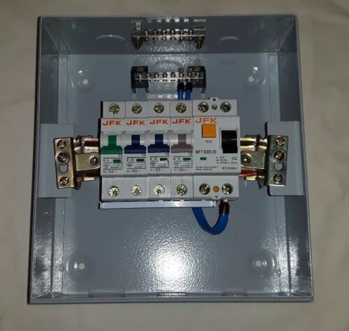 METAL CLAD garage consumer unit 4 way with 63amp 30ma rcd plus 4 mcb,s