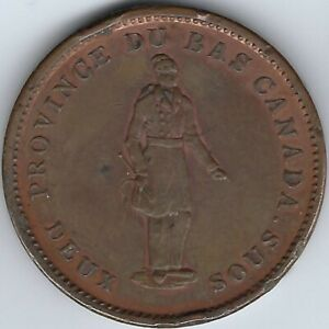 LOWER-CANADA-City-Bank-1837-Penny-Token-Breton-521-LC-9A1-Inv-2780