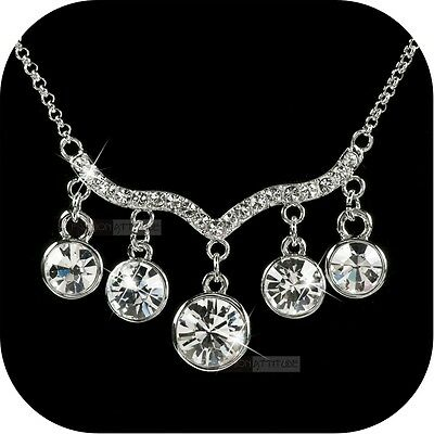 18k white gold gp made with SWAROVSKI crystal drop pendant necklace luxury party