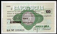 BANCO DI SICILIA 14/2/1977 LIMONI PROFUMERIE L.100 FDS