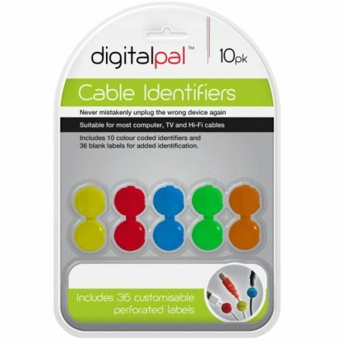 10 PIECE COLORED CABLE IDENTIFIER SET, SUITABLE FOR MOST COMPUTER,TV,HI FI CABLE