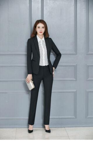 Stripe blouse Business Women Blazer Pants Jacket  2pc Work Career black gifts XL
