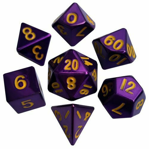 METALLIC Dungeons & Dragons Fantasy 16mm 7 Piece Dice Set Purple w gold Numbers