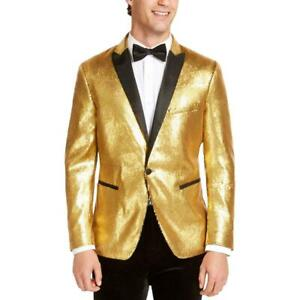 INC Mens Blazer Gold Size 3XB Sequin All Over Slim Fit One-Button $189 #134