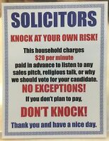 2x Funny No Solicitors Soliciting Sign Water Resistant Self Adhesive Stickers