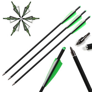 """12x 20/"""" CROSSBOW CARBON Arrows Field Tip Fletched 4/'/' Vane OR Hunting BROADHEADS"""