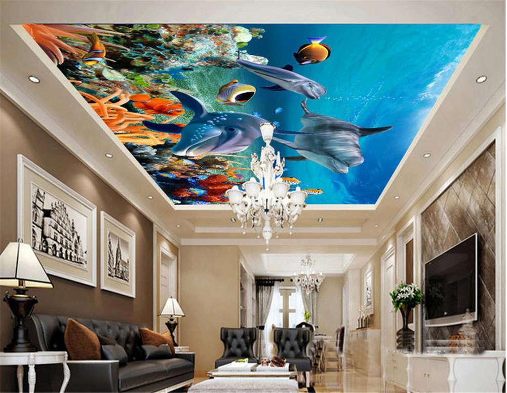 Gross Naked Fishes 3D Ceiling Mural Full Wall Photo Wallpaper Print Home Decor