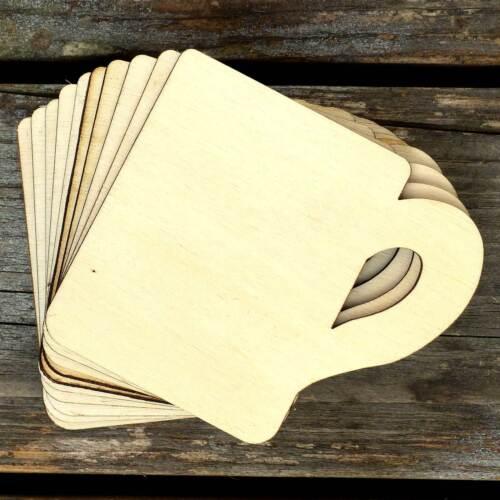 10x Wooden Mug Craft Shapes 3mm Plywood