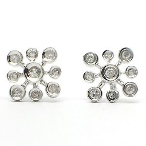 Image Is Loading 18k White Gold Natural Diamond Snowflake Stud Earrings