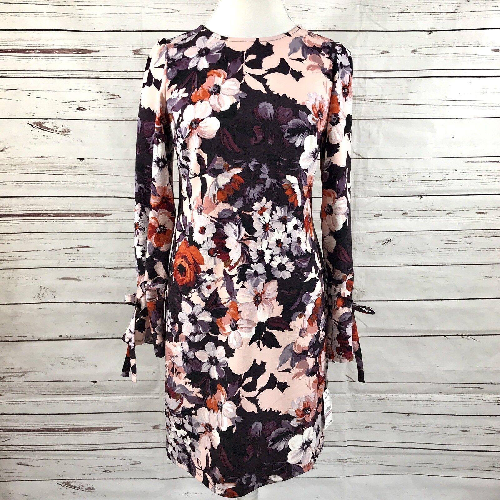 Nine West Shift Dress Long Sleeve Rosa lila Floral Größe 6 NWT