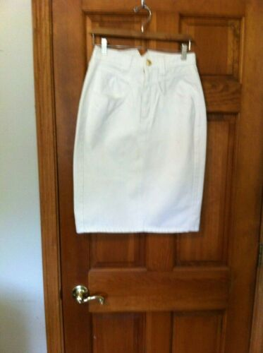 Vtg Jordache Skirt Size 8  High Waist White Denim