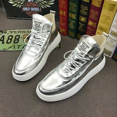 Mens Round Toe High Top Casual Shiny Leather Flat Athletic