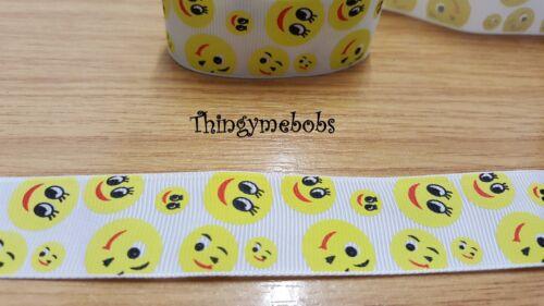 1m x 25mm SMILIES//EMOJIS//EMOTICONS GROSGRAIN RIBBON CRAFTS//CARD MAKING